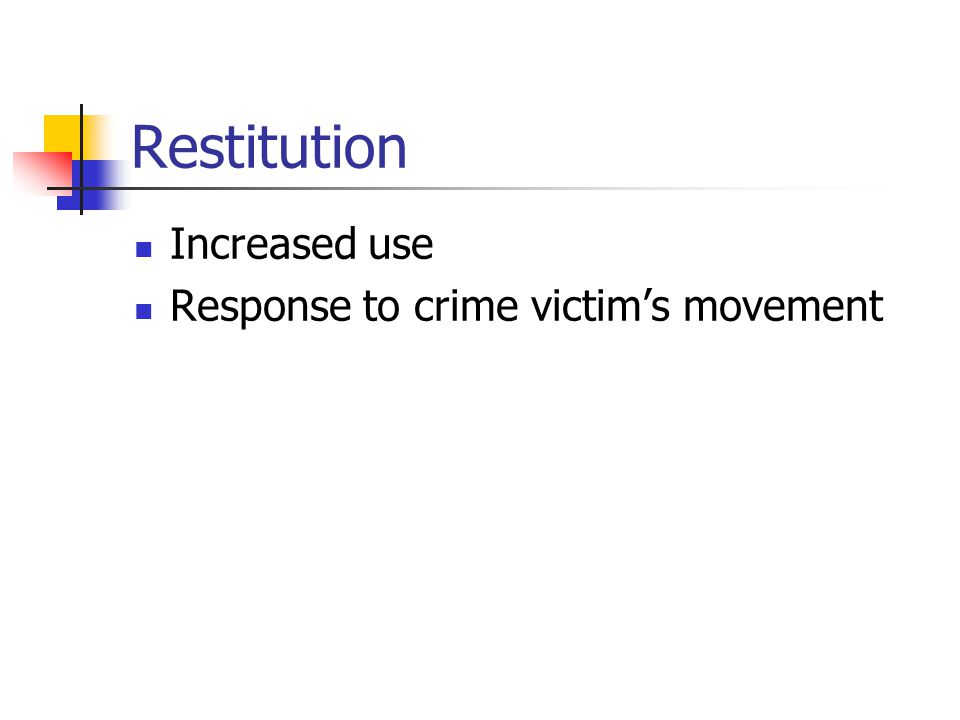 Restitution Increased use Response to crime victim's movement