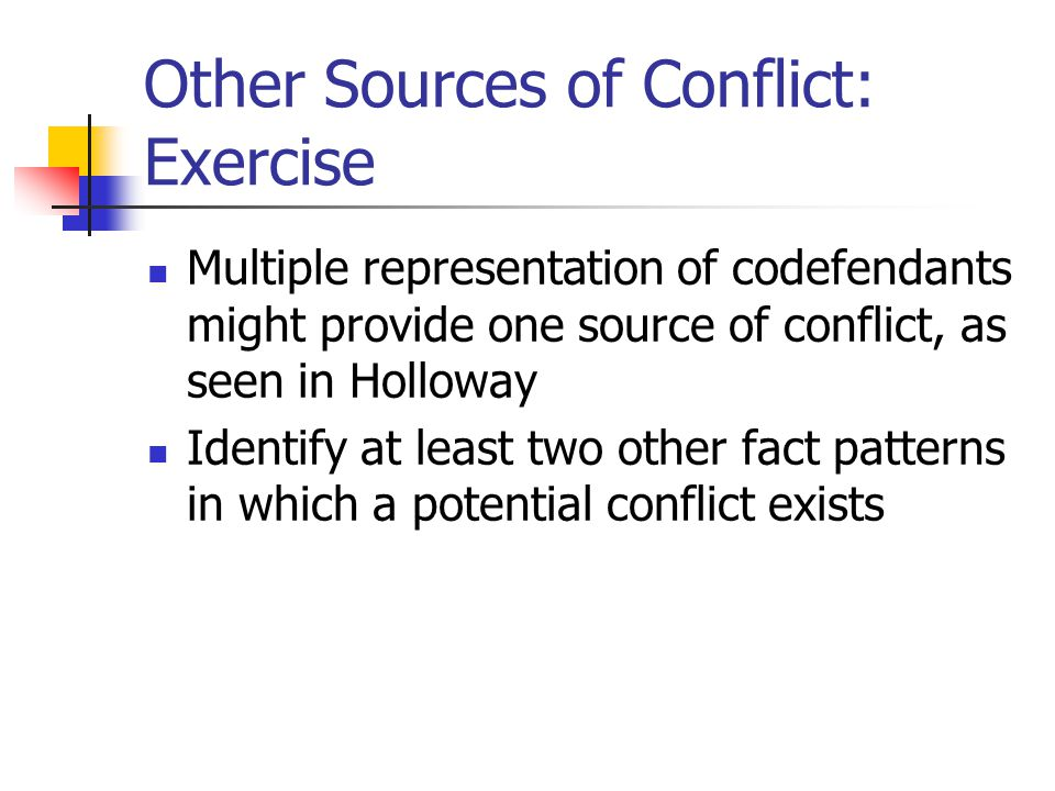 Other Sources of Conflict: Exercise Multiple representation of codefendants might provide one source of conflict, as seen in Holloway Identify at leas