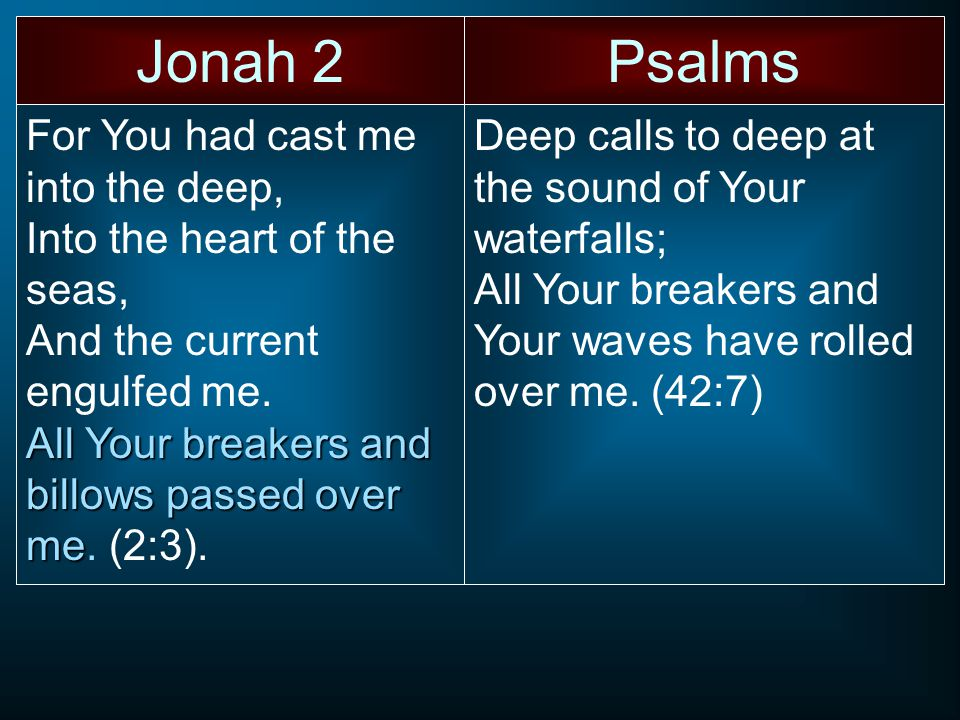 Jonah 2Psalms For You had cast me into the deep, Into the heart of the seas, And the current engulfed me.