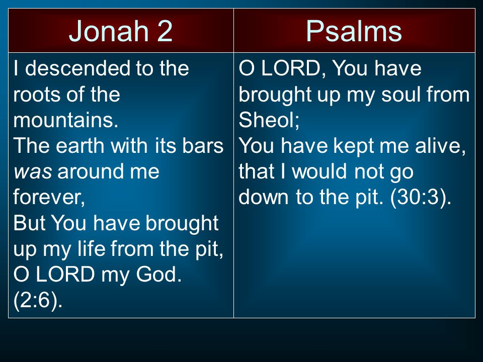 Jonah 2Psalms I descended to the roots of the mountains.