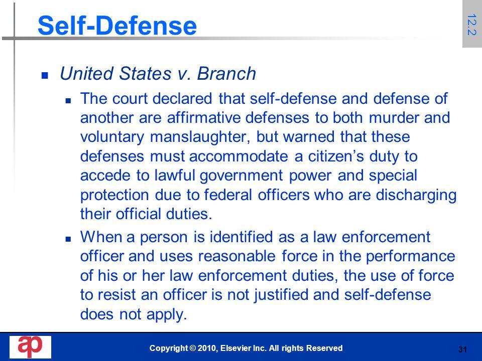 31 Self-Defense United States v.