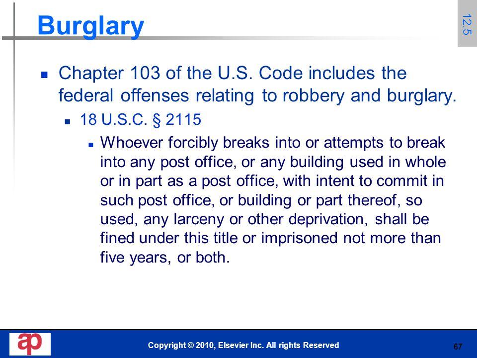 67 Burglary Chapter 103 of the U.S.