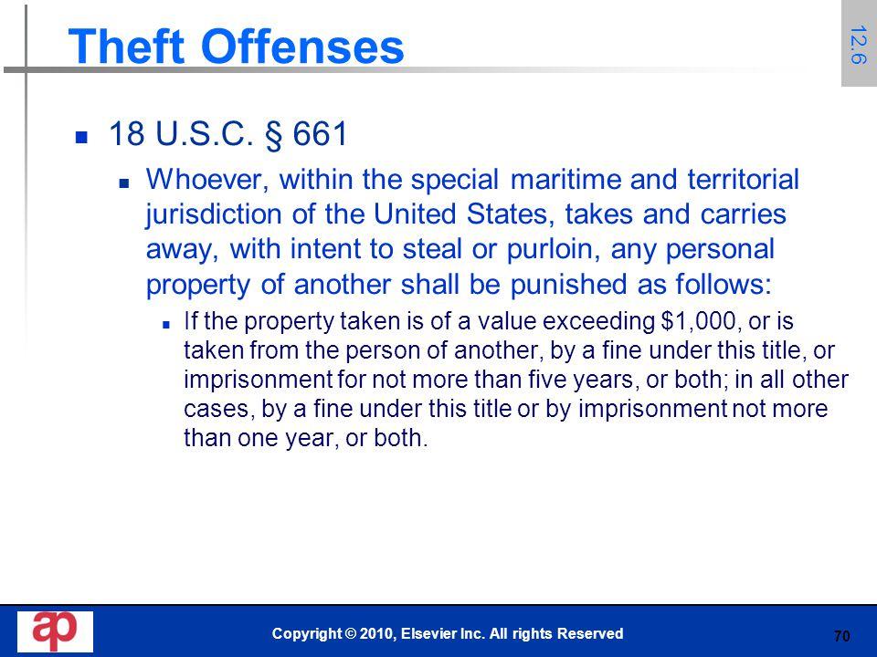 70 Theft Offenses 18 U.S.C.