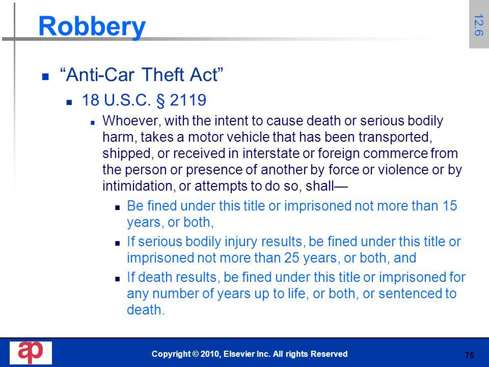 75 Robbery Anti-Car Theft Act 18 U.S.C.