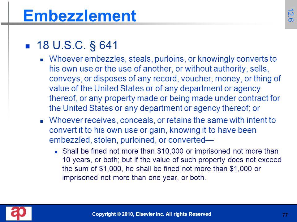 77 Embezzlement 18 U.S.C.