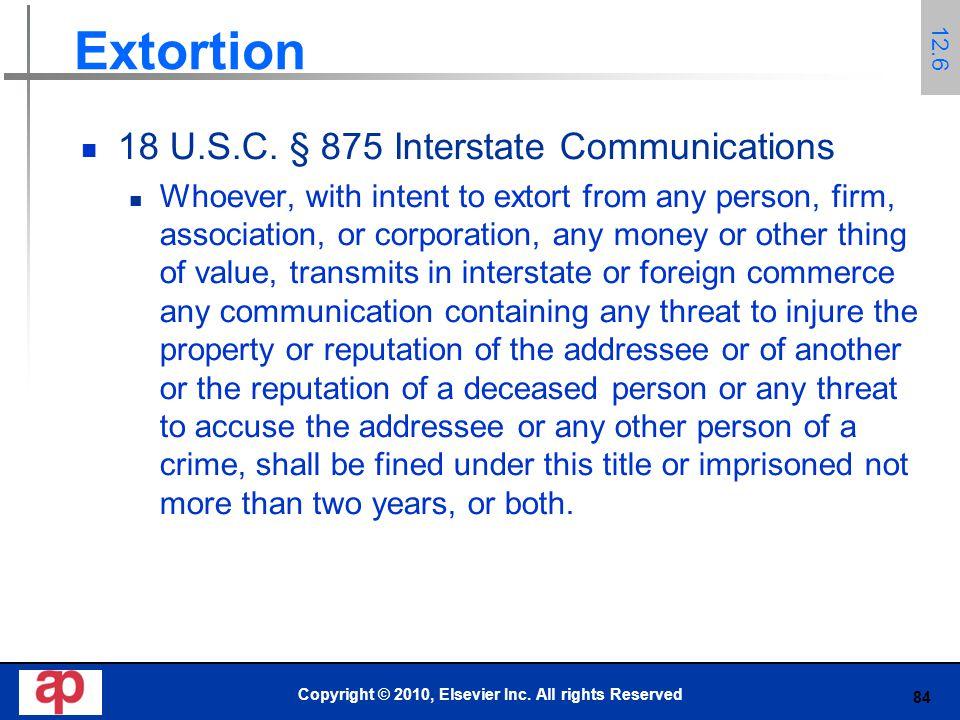 84 Extortion 18 U.S.C.