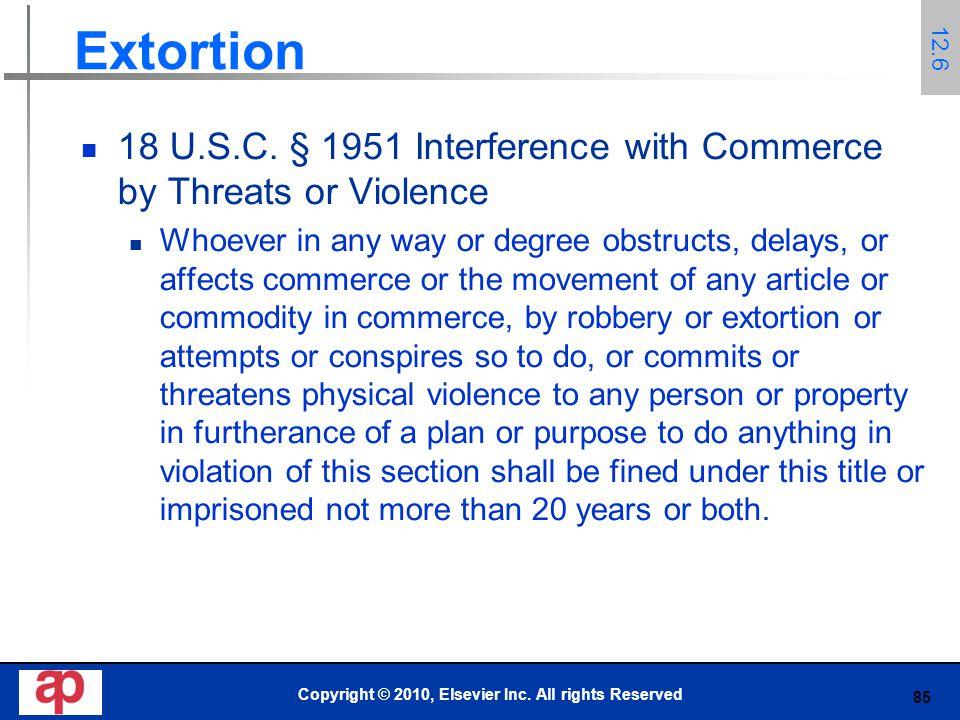 85 Extortion 18 U.S.C.