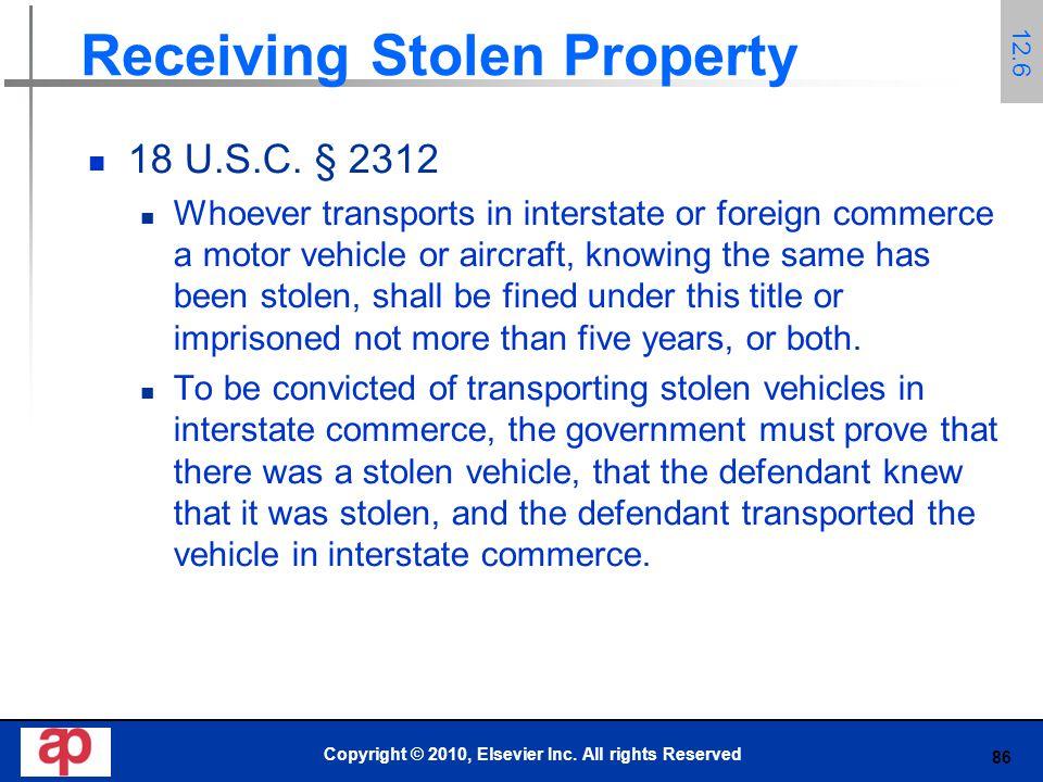 86 Receiving Stolen Property 18 U.S.C.