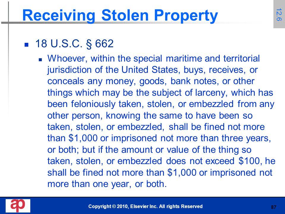 87 Receiving Stolen Property 18 U.S.C.