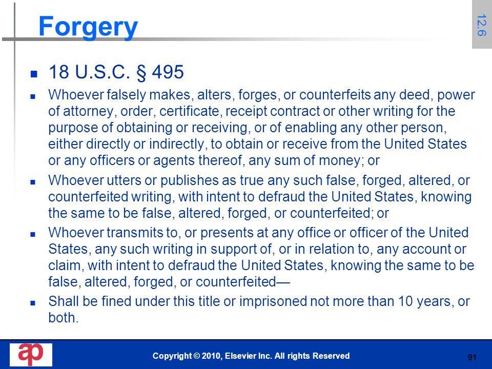91 Forgery 18 U.S.C.