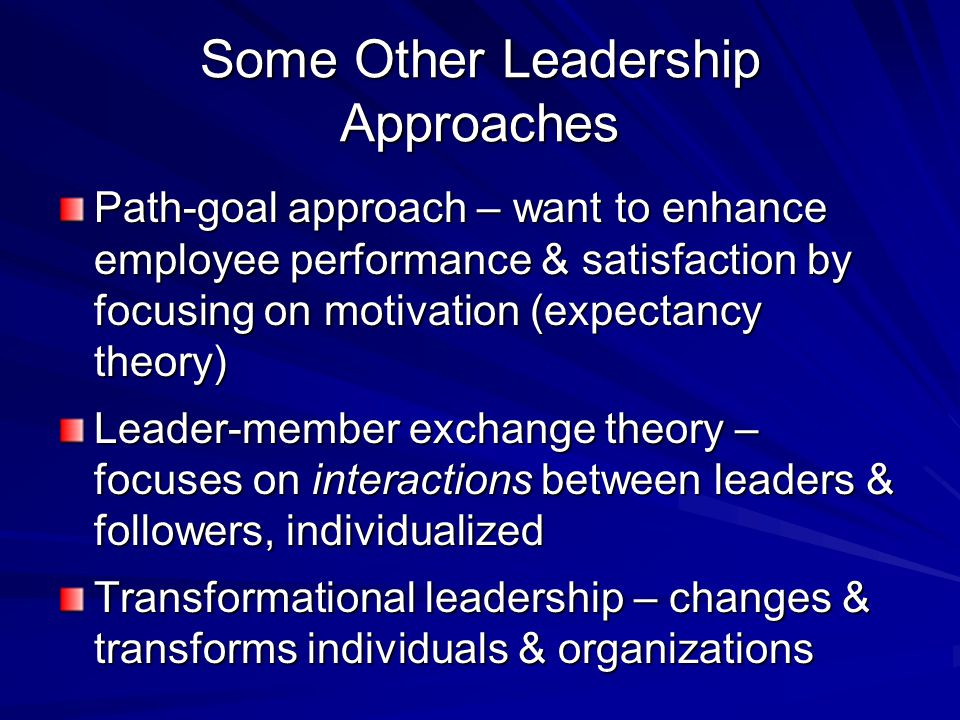 Some Other Leadership Approaches Path-goal approach – want to enhance employee performance & satisfaction by focusing on motivation (expectancy theory) Leader-member exchange theory – focuses on interactions between leaders & followers, individualized Transformational leadership – changes & transforms individuals & organizations