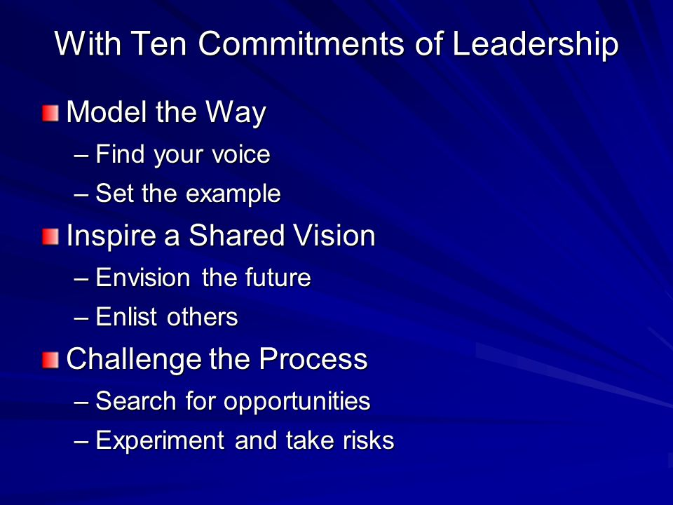With Ten Commitments of Leadership Model the Way –Find your voice –Set the example Inspire a Shared Vision –Envision the future –Enlist others Challenge the Process –Search for opportunities –Experiment and take risks