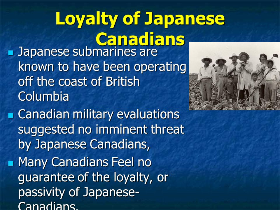 Loyalty of Japanese Canadians Japanese submarines are known to have been operating off the coast of British Columbia Japanese submarines are known to have been operating off the coast of British Columbia Canadian military evaluations suggested no imminent threat by Japanese Canadians, Canadian military evaluations suggested no imminent threat by Japanese Canadians, Many Canadians Feel no guarantee of the loyalty, or passivity of Japanese- Canadians.