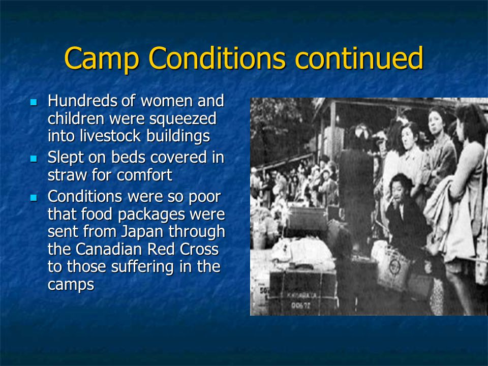 Camp Conditions continued Hundreds of women and children were squeezed into livestock buildings Hundreds of women and children were squeezed into livestock buildings Slept on beds covered in straw for comfort Slept on beds covered in straw for comfort Conditions were so poor that food packages were sent from Japan through the Canadian Red Cross to those suffering in the camps Conditions were so poor that food packages were sent from Japan through the Canadian Red Cross to those suffering in the camps