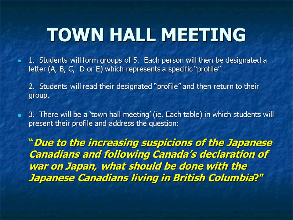 TOWN HALL MEETING 1. Students will form groups of 5.