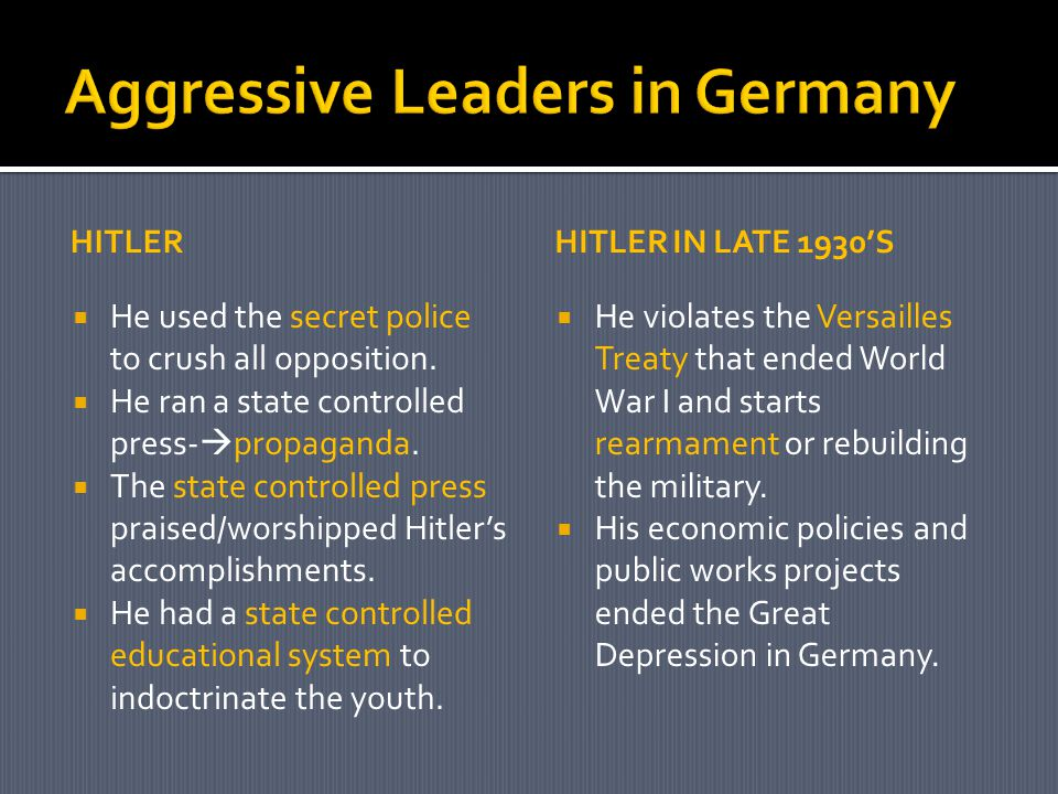 HITLER  He used the secret police to crush all opposition.