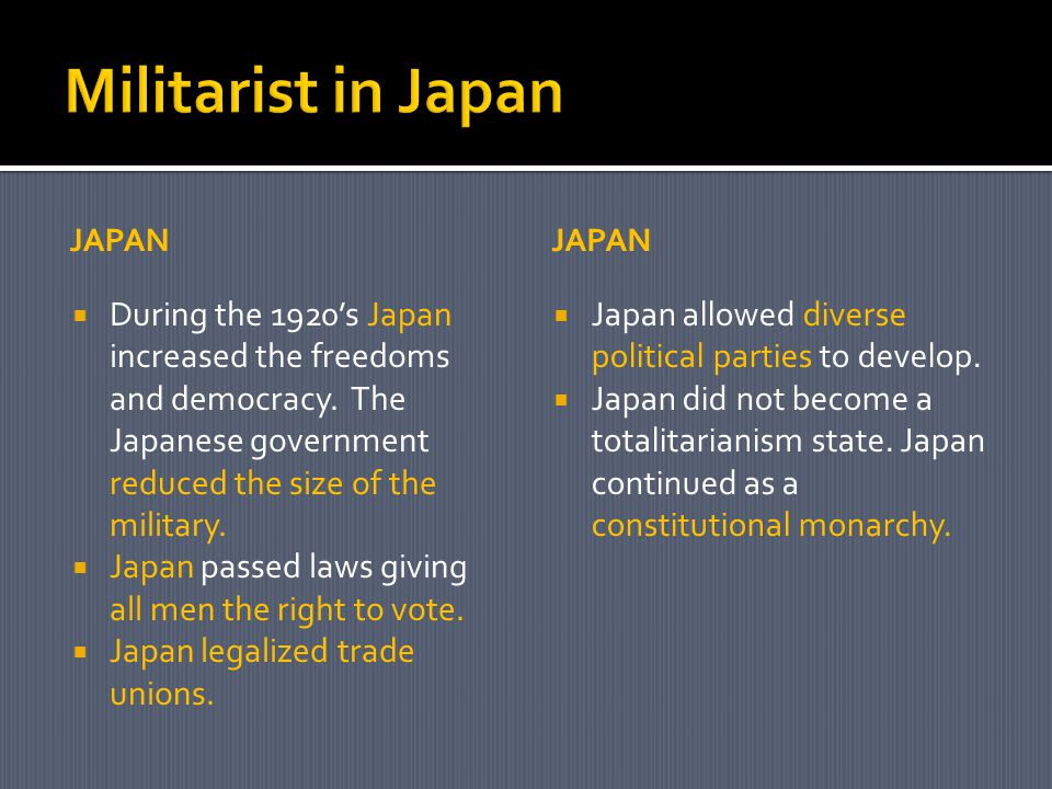 JAPAN  During the 1920's Japan increased the freedoms and democracy.