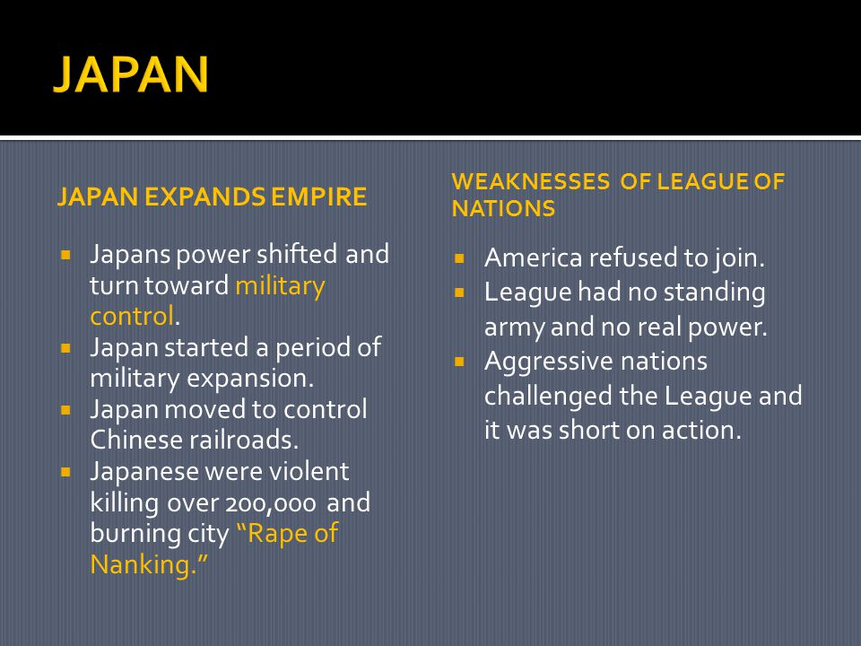 JAPAN EXPANDS EMPIRE  Japans power shifted and turn toward military control.