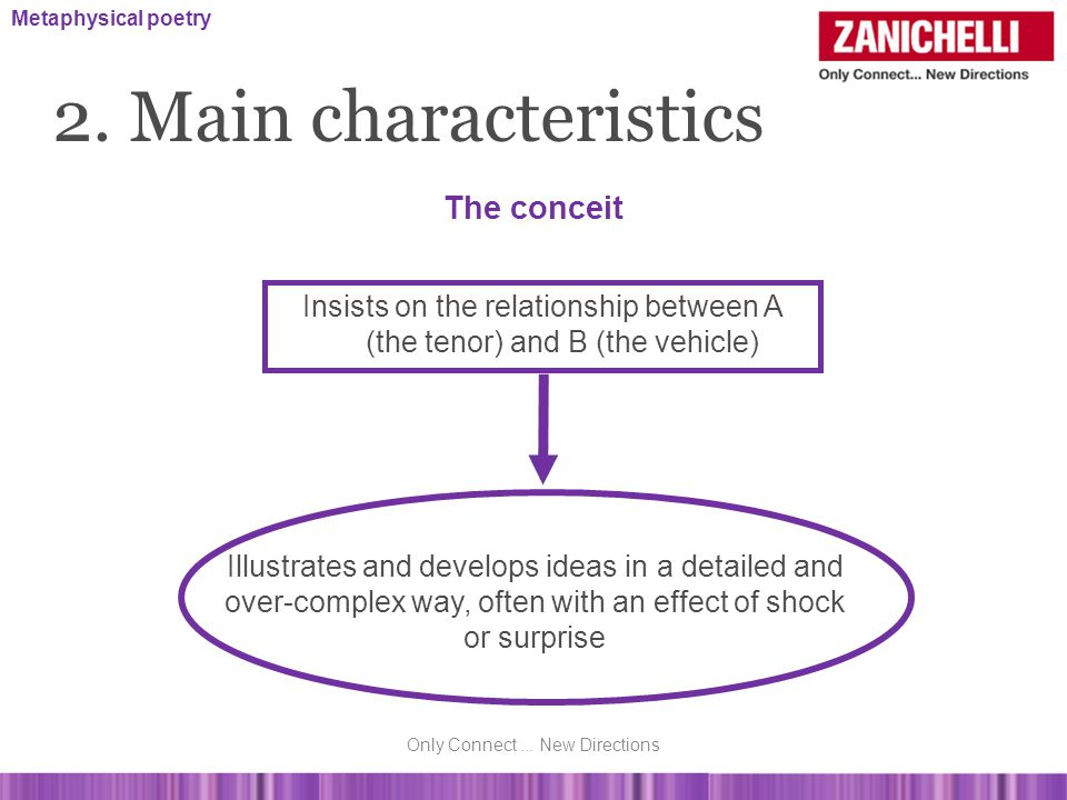 2. Main characteristics The conceit Illustrates and develops ideas in a detailed and over-complex way, often with an effect of shock or surprise Insis