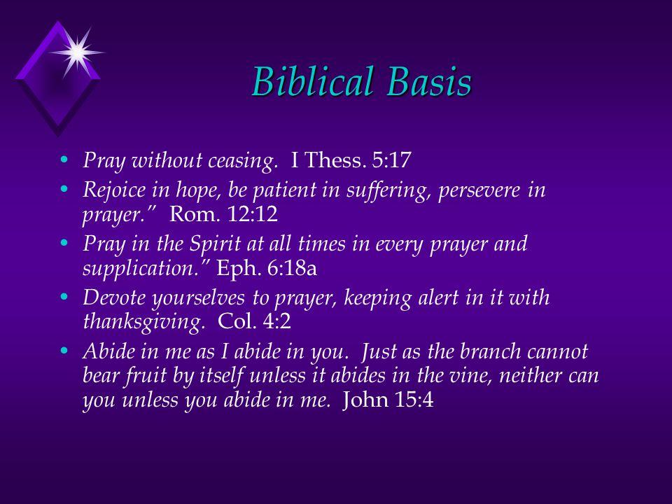 Biblical Basis Pray without ceasing. I Thess.
