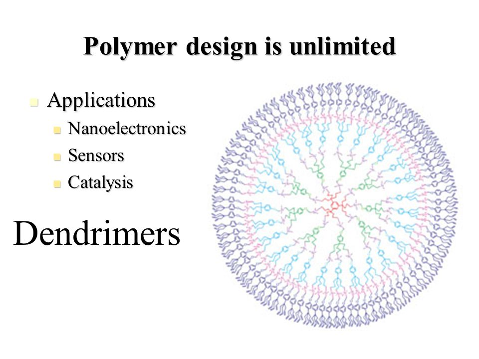 Polymer design is unlimited Applications Applications Nanoelectronics Nanoelectronics Sensors Sensors Catalysis Catalysis Dendrimers