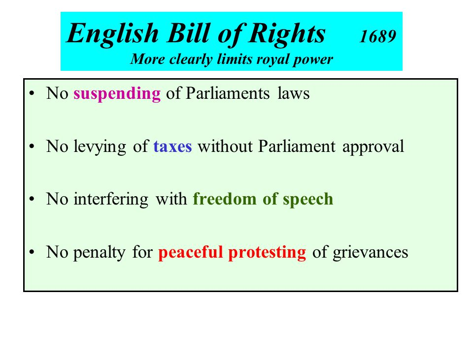 No suspending of Parliaments laws No levying of taxes without Parliament approval No interfering with freedom of speech No penalty for peaceful protes