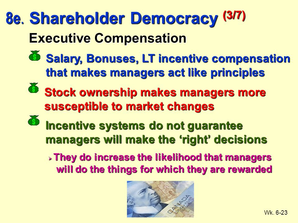 Wk. 6-23 Executive Compensation Salary, Bonuses, LT incentive compensation that makes managers act like principles Stock ownership makes managers more