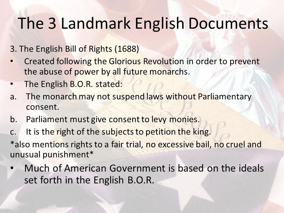 The 3 Landmark English Documents 3.