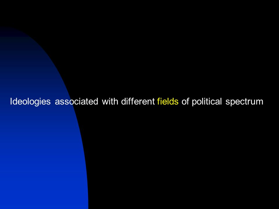 Ideologies associated with different fields of political spectrum