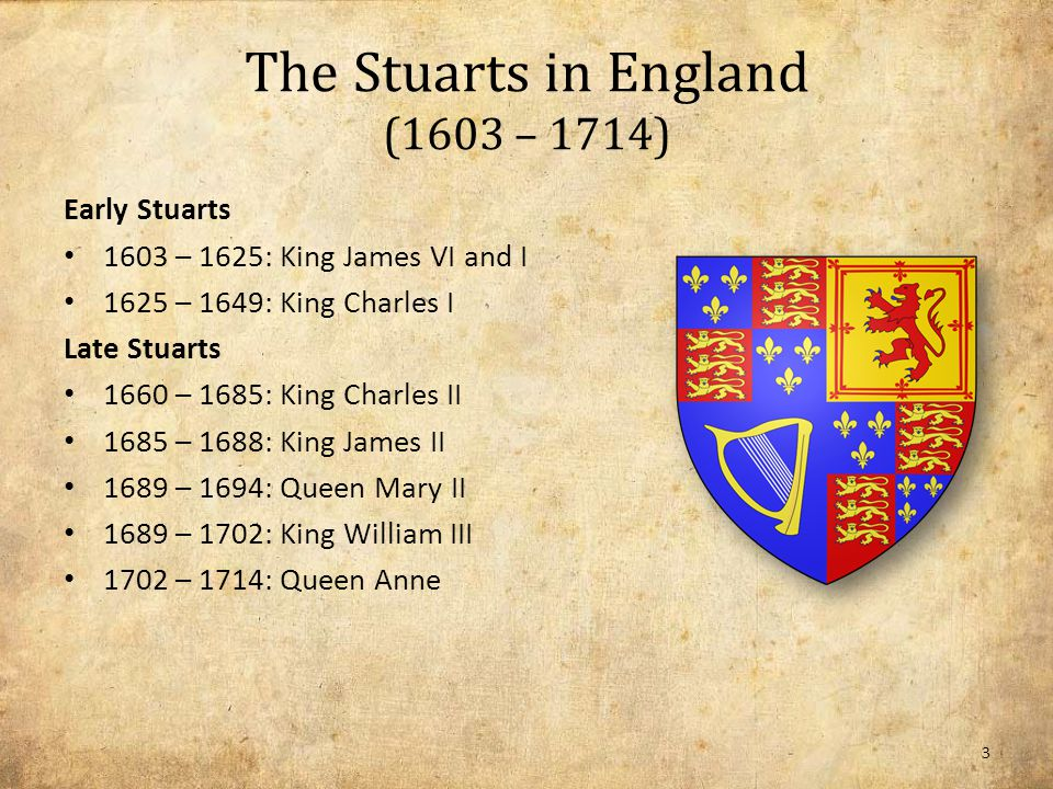 The Stuarts in England (1603 – 1714) Early Stuarts 1603 – 1625: King James VI and I 1625 – 1649: King Charles I Late Stuarts 1660 – 1685: King Charles II 1685 – 1688: King James II 1689 – 1694: Queen Mary II 1689 – 1702: King William III 1702 – 1714: Queen Anne 3