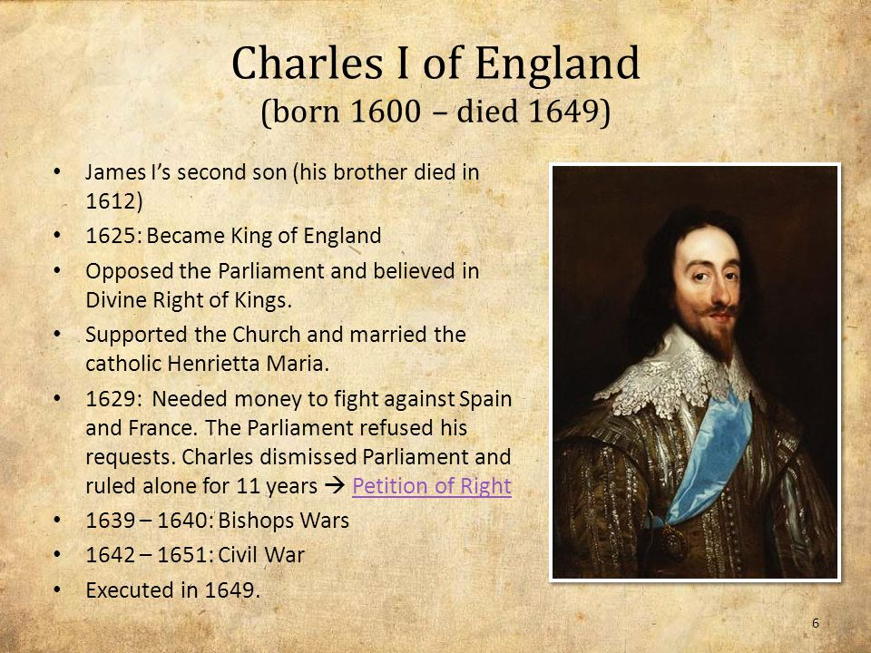 Petition of Right (1628) Presented by Sir Edward Coke because Charles I broke up Parliament and ruled on his own.