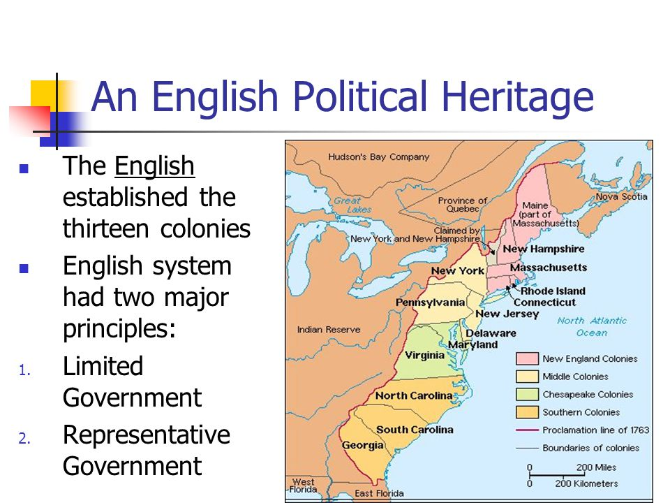 An English Political Heritage The English established the thirteen colonies English system had two major principles: 1.