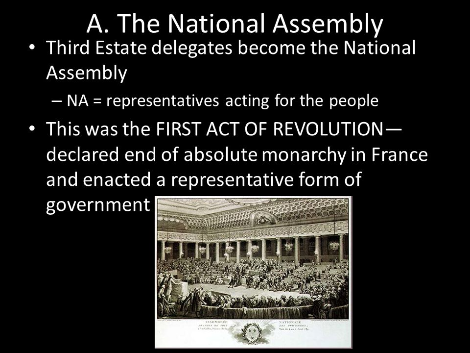 A. The National Assembly Third Estate delegates become the National Assembly – NA = representatives acting for the people This was the FIRST ACT OF RE