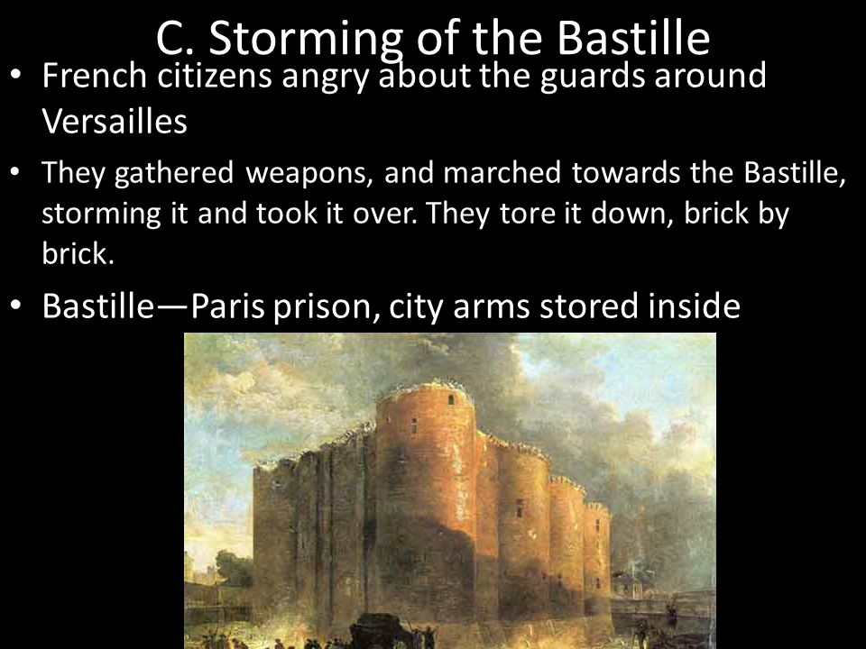 C. Storming of the Bastille French citizens angry about the guards around Versailles They gathered weapons, and marched towards the Bastille, storming