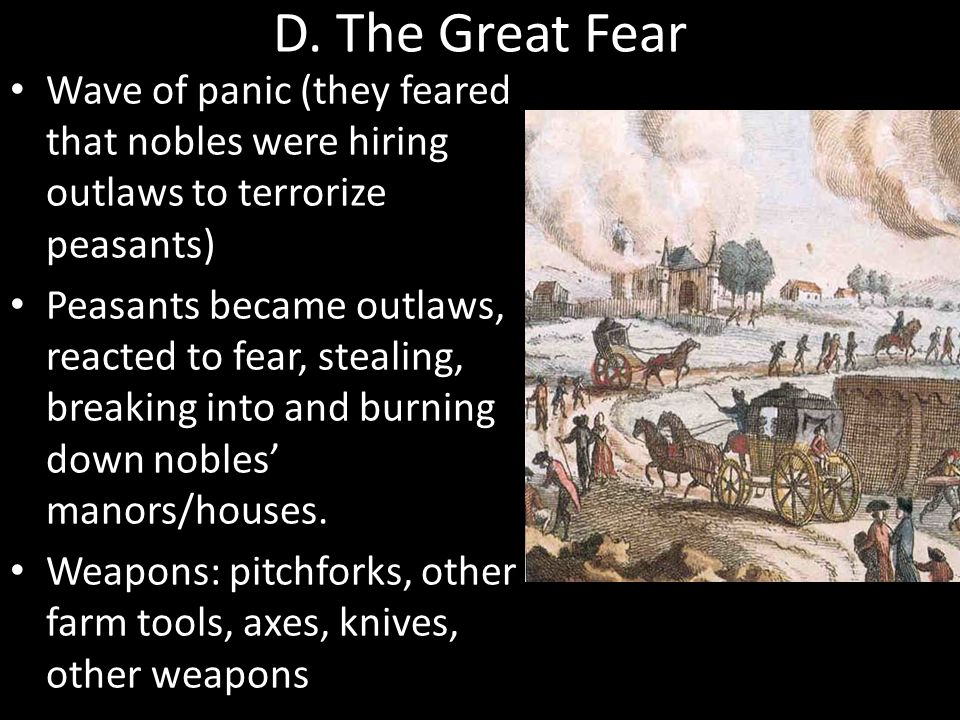 D. The Great Fear Wave of panic (they feared that nobles were hiring outlaws to terrorize peasants) Peasants became outlaws, reacted to fear, stealing
