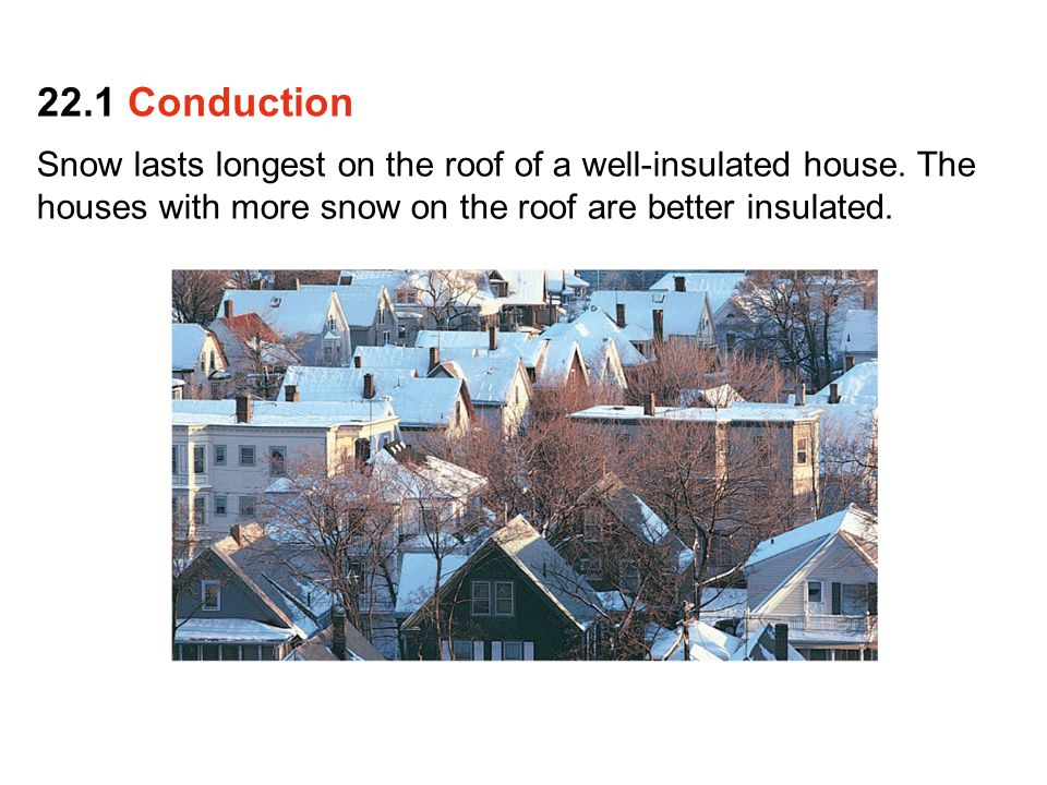 Snow lasts longest on the roof of a well-insulated house. The houses with more snow on the roof are better insulated. 22.1 Conduction