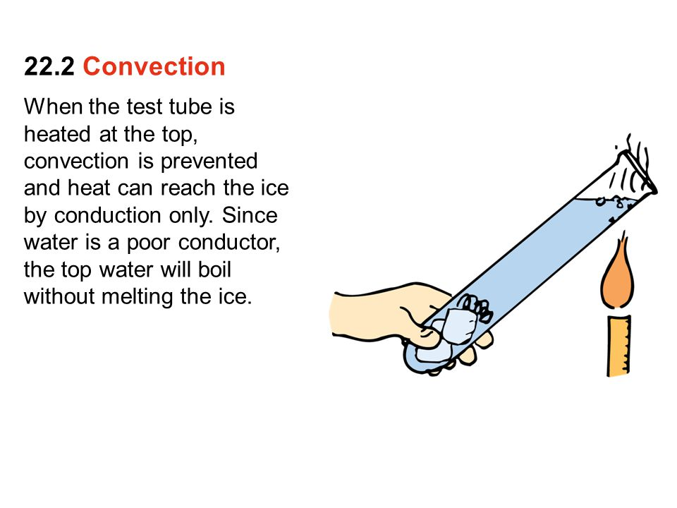 When the test tube is heated at the top, convection is prevented and heat can reach the ice by conduction only. Since water is a poor conductor, the t