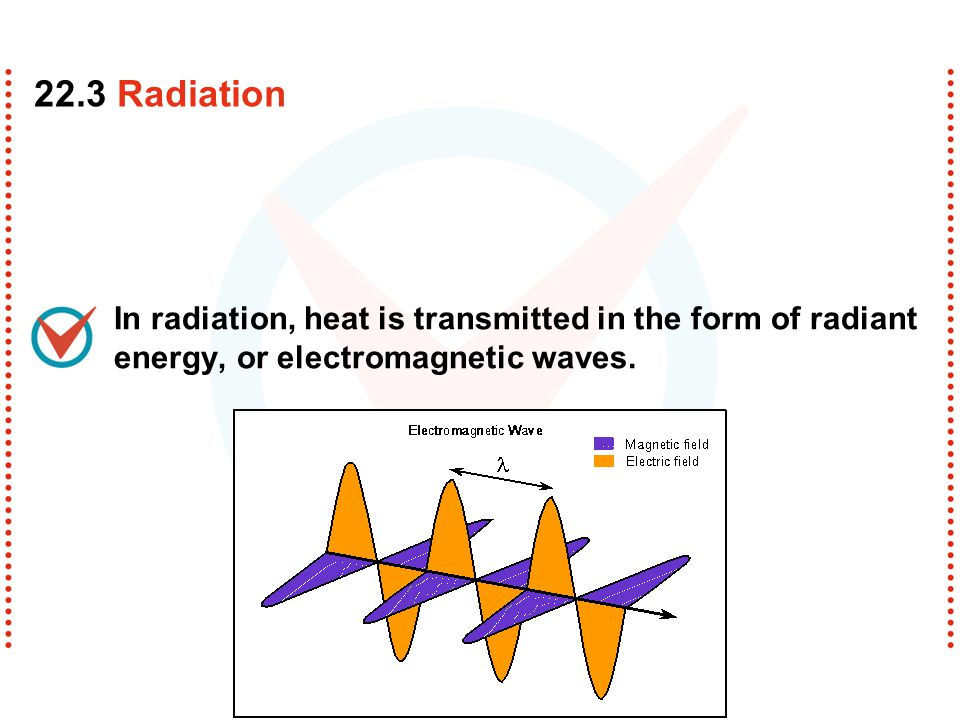In radiation, heat is transmitted in the form of radiant energy, or electromagnetic waves. 22.3 Radiation