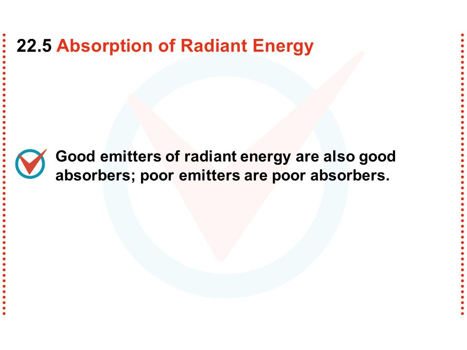 Good emitters of radiant energy are also good absorbers; poor emitters are poor absorbers. 22.5 Absorption of Radiant Energy
