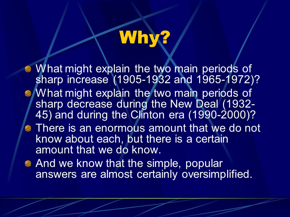 Why. What might explain the two main periods of sharp increase (1905-1932 and 1965-1972).