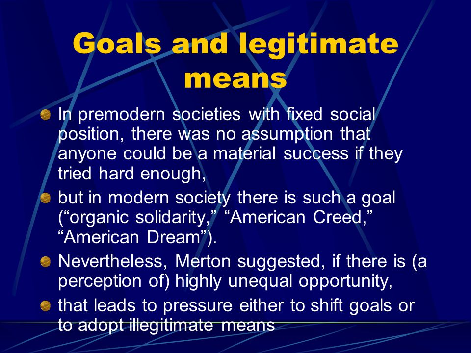 Goals and legitimate means In premodern societies with fixed social position, there was no assumption that anyone could be a material success if they tried hard enough, but in modern society there is such a goal ( organic solidarity, American Creed, American Dream ).