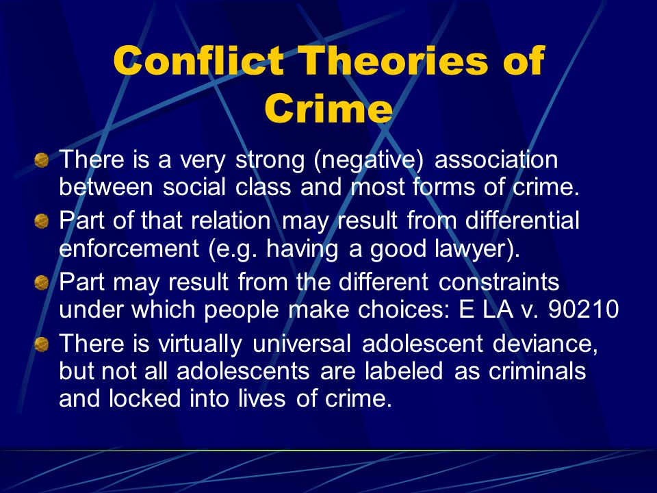 Conflict Theories of Crime There is a very strong (negative) association between social class and most forms of crime.