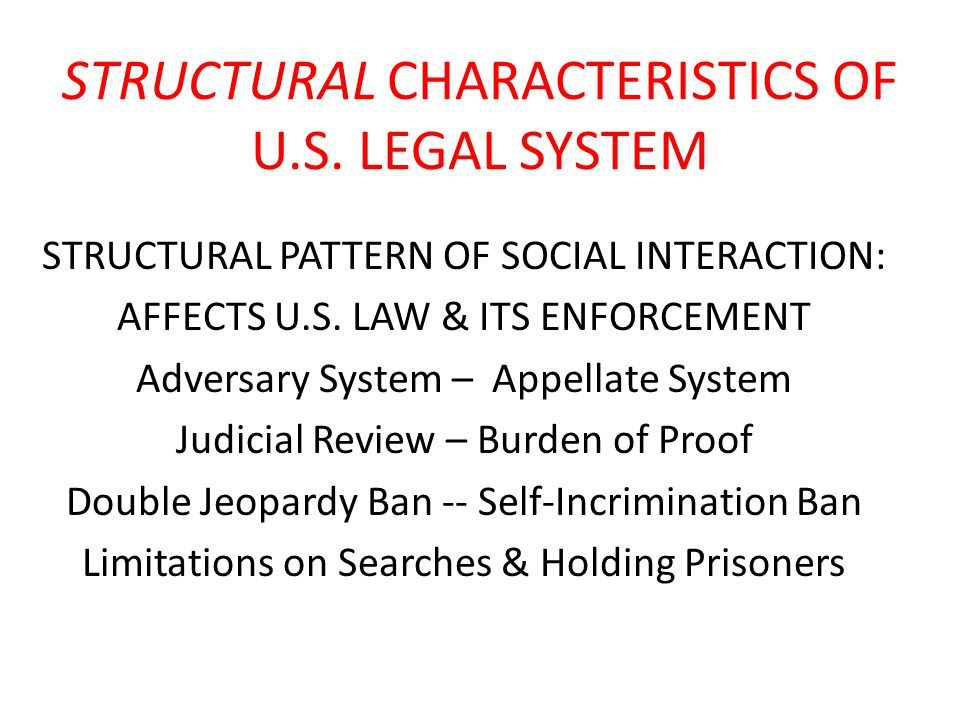 STRUCTURAL CHARACTERISTICS OF U.S. LEGAL SYSTEM STRUCTURAL PATTERN OF SOCIAL INTERACTION: AFFECTS U.S. LAW & ITS ENFORCEMENT Adversary System – Appell