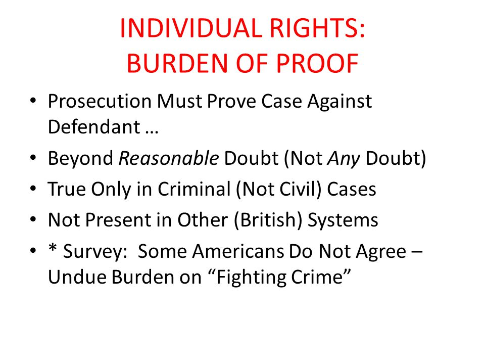 INDIVIDUAL RIGHTS: BURDEN OF PROOF Prosecution Must Prove Case Against Defendant … Beyond Reasonable Doubt (Not Any Doubt) True Only in Criminal (Not Civil) Cases Not Present in Other (British) Systems * Survey: Some Americans Do Not Agree – Undue Burden on Fighting Crime