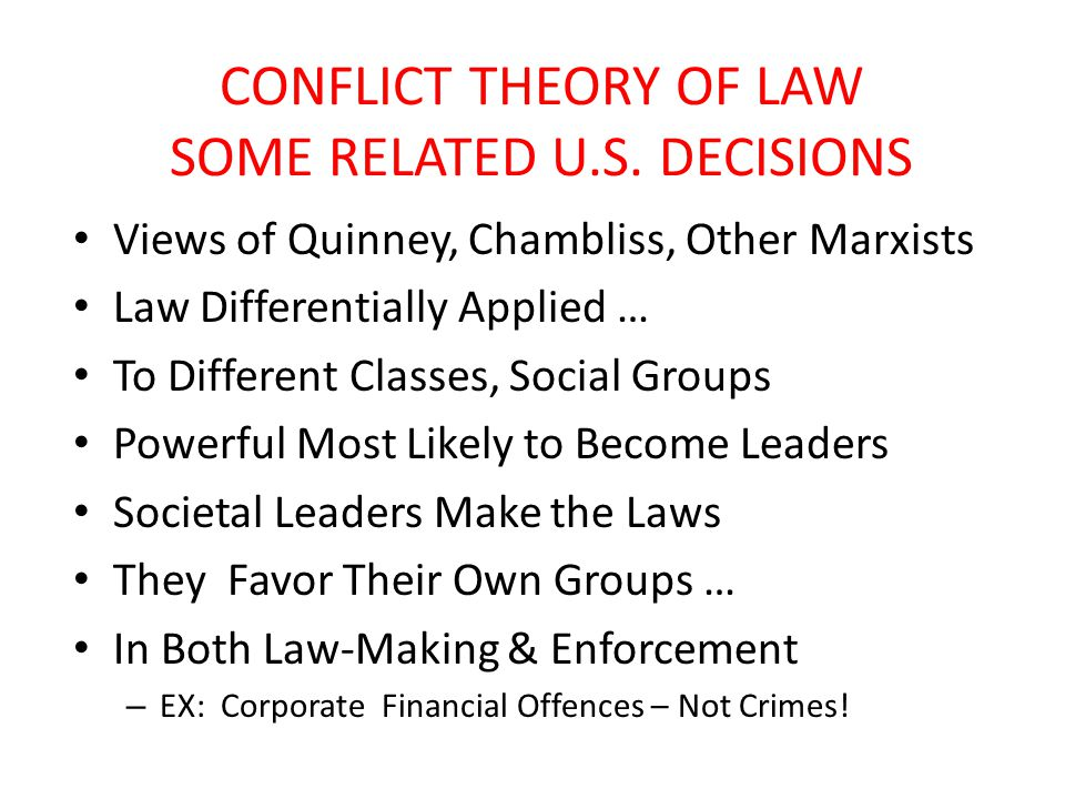 CONFLICT THEORY OF LAW SOME RELATED U.S.