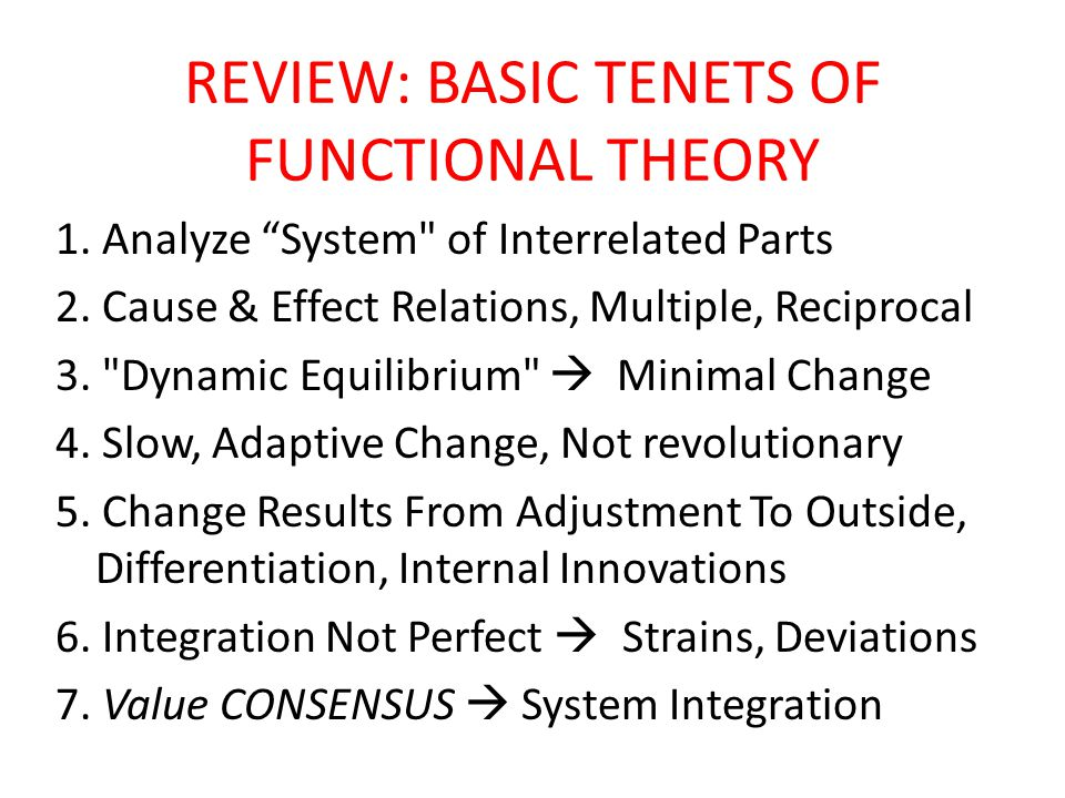 REVIEW: BASIC TENETS OF FUNCTIONAL THEORY 1. Analyze System of Interrelated Parts 2.