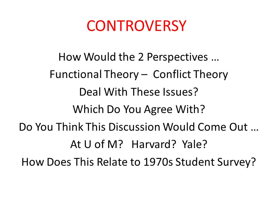 CONTROVERSY How Would the 2 Perspectives … Functional Theory – Conflict Theory Deal With These Issues.