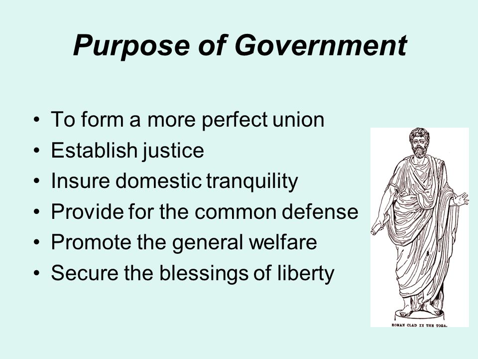 Purpose of Government To form a more perfect union Establish justice Insure domestic tranquility Provide for the common defense Promote the general welfare Secure the blessings of liberty