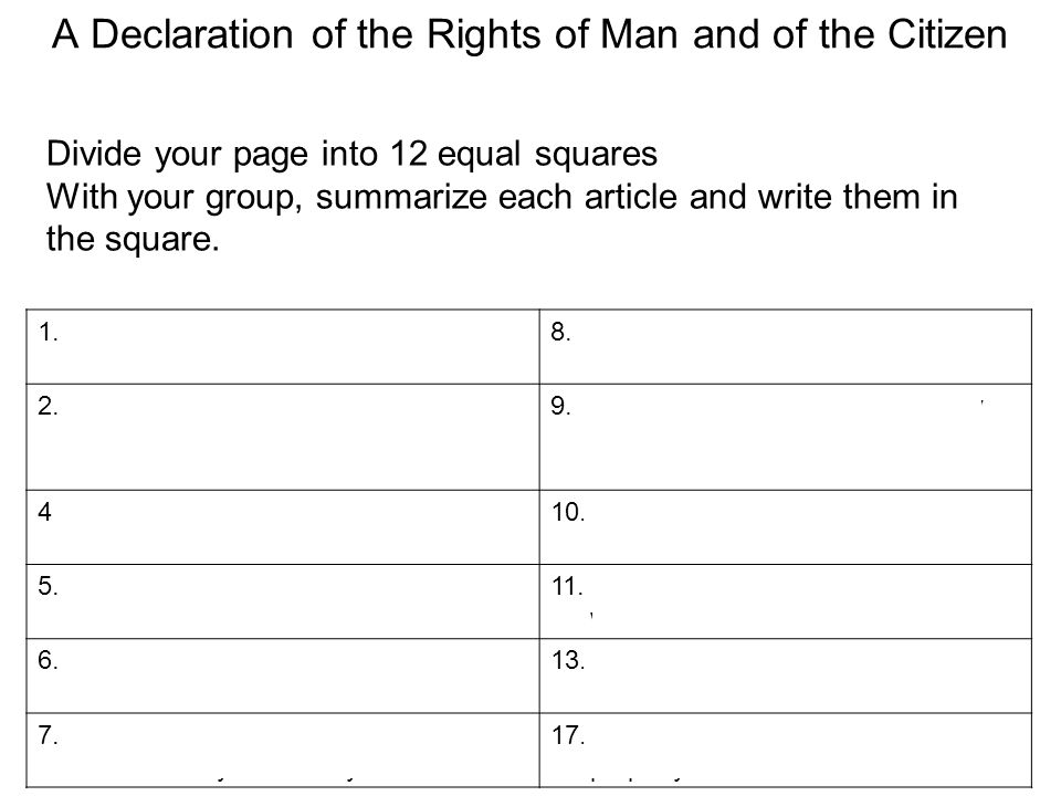 A Declaration of the Rights of Man and of the Citizen 1.