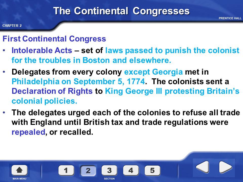 CHAPTER 2 First Continental Congress